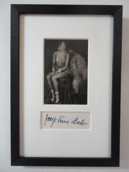 Josephine Baker American French Singer Dancer Autograph & Antique Photo